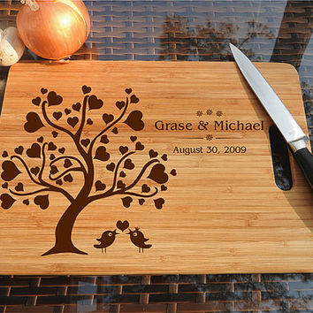 kikb491 Personalized Cutting Board Wood wooden wedding gift anniversary date tree bird names