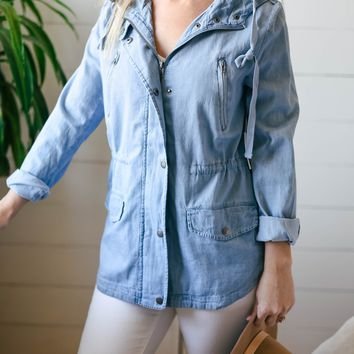 Chambray Denim Zip Up Hooded Jacket