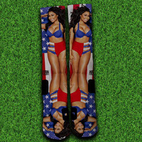 Nicki Minaj American Flag Socks,Custom socks,Personalized socks,Elite socks