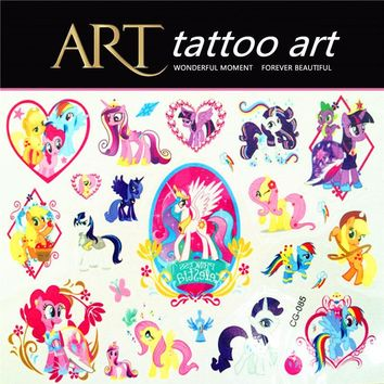 1 Sheet My Little Pony Tattoo Stickers Toys Horse For Children  Kids Birthday Party Tatoo poni Paste Decoration Supplies