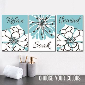 Blue Bathroom Decor, BATHROOM Relax Soak Unwind, Bathroom Quote Aqua Blue Brown BATHROOM Wall Art Canvas or Prints  Set of 3 Bathroom Decor