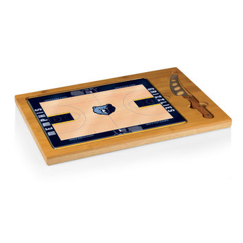Memphis Grizzlies - 'Icon' Glass Top Serving Tray & Knife Set by Picnic Time (Basketball Design)