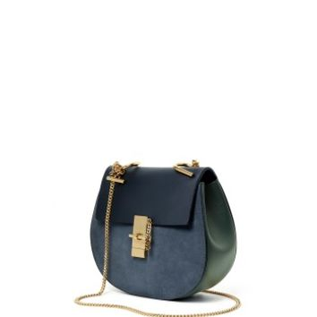 Chloé Two-Tone Drew Shoulder Bag - Blue Shoulder Bag - ShopBAZAAR