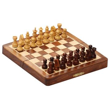 Portable Magnetic Folding Chess Game Board  in Fine Rosewood By Benzara