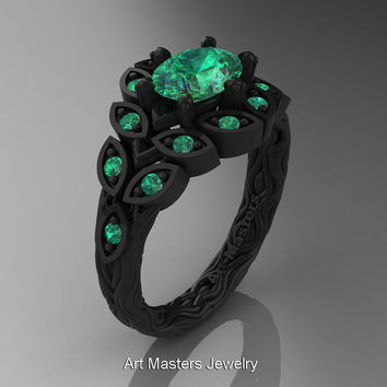 Art Masters Nature Inspired 14K Black Gold 1.0 Ct Oval Emerald Leaf and Vine Solitaire Ring R267-14KBGEM