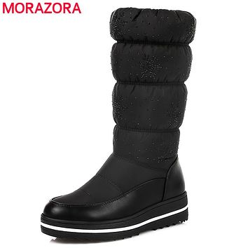 MORAZORA Plus size 35-44 Russia snow boots thick fur inside winter warm women boots soft pu leather mid calf high boots black