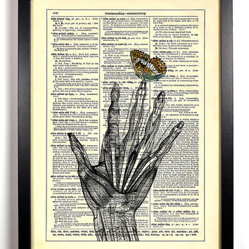 Skeleton Anatomy Hand With Butterfly Repurposed Book Upcycled Dictionary Art Vintage Print Recycled Vintage Dictionary Page Buy 2 Get 1 FREE