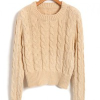Vintage Cable Knit Jumpers with Crew Neck