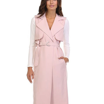 Blush Sleeveless Trench Jacket