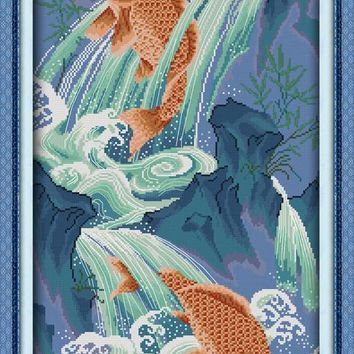 Fishes Leaping Over the Dragon Gate Canvas DMC Cross Stitch Kits Printed Embroidery DIY Handmade Needle Work Wall Art Home Decor