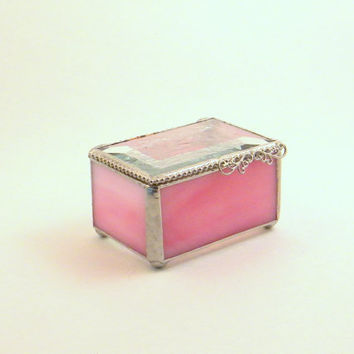 "Pink Stained Glass Jewelry Box, Keepsake Box, 2 x 3"", Clear Bevel Lid, Bridesmaid Gift, Mother's Day Gift, Maid of Honor Gift"