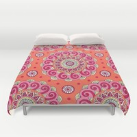 Pink & Orange Mandala Duvet Cover by Sarah Oelerich