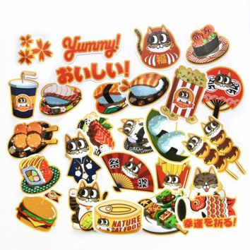 25pcs foodie cartoon Sushi cat Stickers for Laptop Phone Skateboard Luggage   Funny Graffiti Decals Cool DIY Sticker