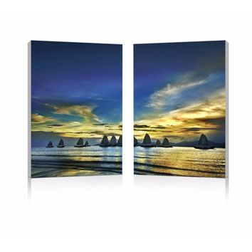 Sunset Sails Mounted Photography Print Diptych By Baxton Studio