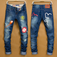 Winter Stylish Men Fashion Weathered Jeans [6528535299]