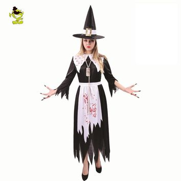 Cool 2018 New Adult Salem Witch Costume Adult's Women's Witch Costume Black Fancy Dress Halloween Cosplay Costume OutfitsAT_93_12