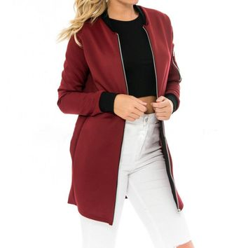 High Quality Fashion Ladies Long Jackets Stand Collar Solid Brief Cardigan Jackets Coat Women Thin Slim Outwear Jackets
