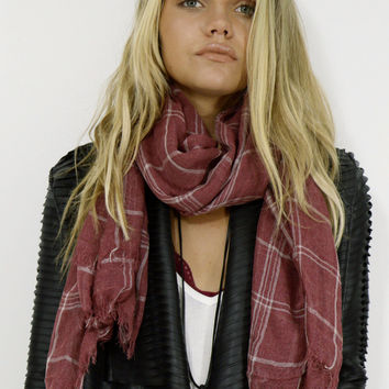 Central Park Washed Red Lightwieght Plaid Scarf