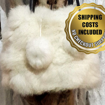 Genuine White Rabbit Fur Shoulder Bag - 100% Naturel
