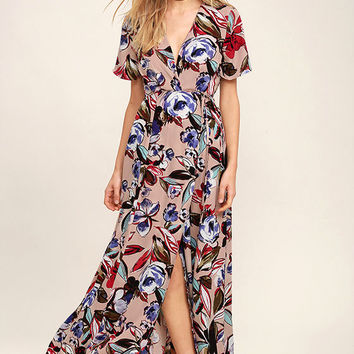 Tranquil Thoughts Blush Floral Print Wrap Dress