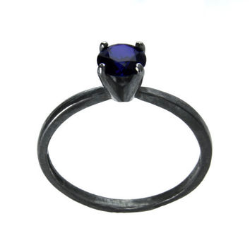 Dark Sapphire Ring 5 Carat Sterling Silver and by abishessentials