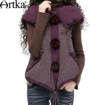 Trendy Artka Women Sleeveless Jacket Coat 2018 Autumn Outerwear With Hood Vintage Puffer Jacket With Pom Pom Winter Outerwear  WA10123D AT_94_13