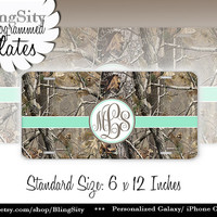 Mint camo Monogram License Plate Metal Wall Sign for Auto Car Truck Tags Personalized Custom Vanity Tree Camo