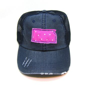Kansas Trucker Hat - Distressed - Floral Fabric State Cutout