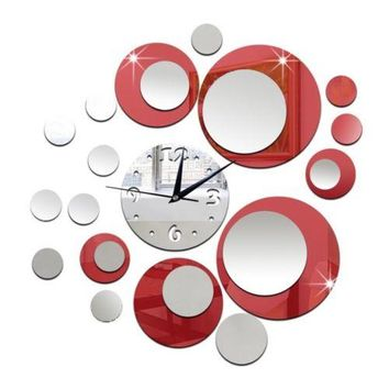 Mirror Wall Clock 3D Decoration Acrylic Circle    silver red