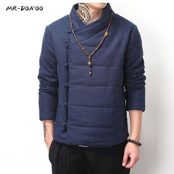 MRDONOO Winter thick cotton - padded jacket male Chinese wind retro men 's cotton buckle cotton linen jacket