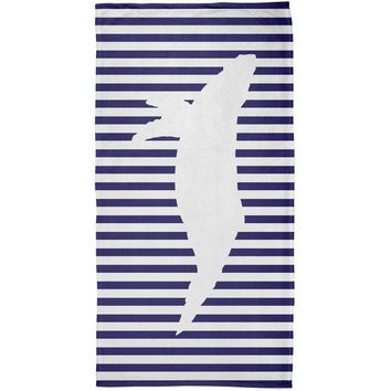 ONETOW Whale Nautical Stripes All Over Plush Beach Towel