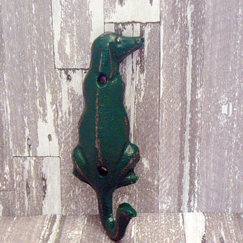 Dog Hook Cast Iron Wall Hook Primary Shabby Style Chic Green Coat Jewelry Pet Leash Scarf Hat Cap Keys Towel Key Hook Groomers Vet Decor
