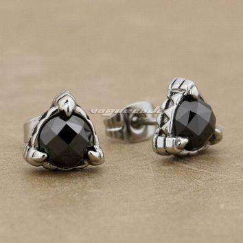 316L Stainless Steel Black CZ Stone Triangle Claw Fashion Stud Biker Punk earrings 4X019 (2 Pieces)