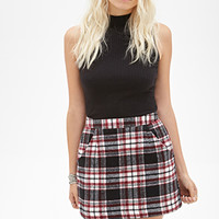 FOREVER 21 Plaid Flannel Skirt Black/Cream