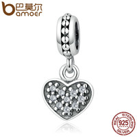 BAMOER 925 Sterling Silver White Romantic Heart Pendants Charms Fit DIY Bracelets Necklaces Women Jewelry Accessories PSC006