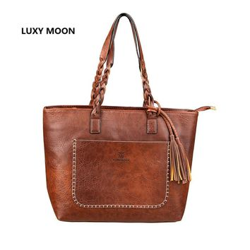Luxury Designer PU Leather Handbags for Women sac a main High Quality Tassel Shopping Tote Vintage Fashion Shoulder Bags 107
