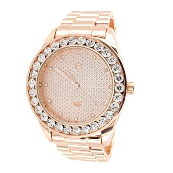 14k Rose Gold Finish Presidential Look Luxury Iced Out Bezel Watch