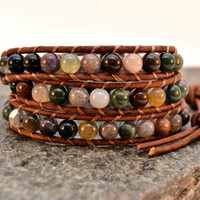 Beaded leather bracelet - Chan Luu style triple wrap bracelet - Natural jewelry