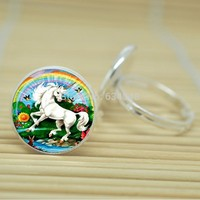Inexpensive Unicorn Ring Standing Majestic Design Glass Cabochon Silver or Antique Bronze Color
