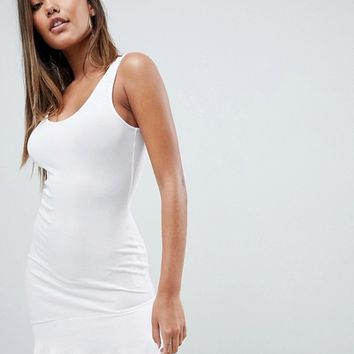 ASOS DESIGN mini vest dress with scoop back and asymmetric frill hem at asos.com