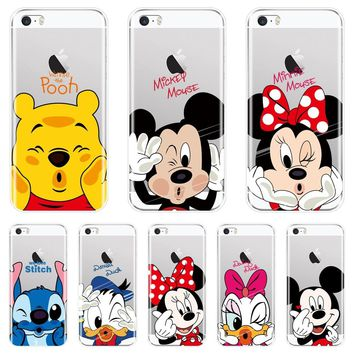 Cute Mickey Minnie Mouse Soft Phone Case Silicone For Apple iPhone 4 4S 5 5C 5S SE Back Cover For iPhone 4 5 S Case