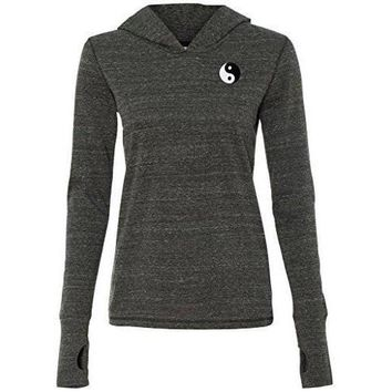 Yoga Clothing for You Ladies Yin Yang Patch Hoodie Tee - Pockter Print