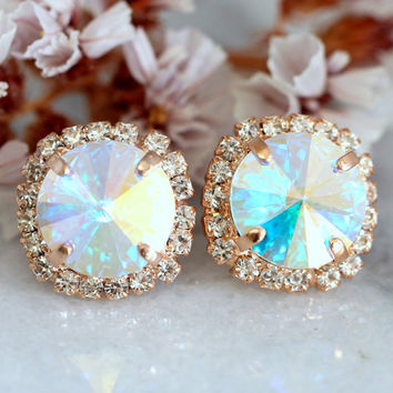 Bridal Earrings,AB Swarovski Stud Earrings,Bridesmaids Earrings,Bridal Crystal Round Earrings,Gift For Her,Aurora Borealis Crystal Earrings