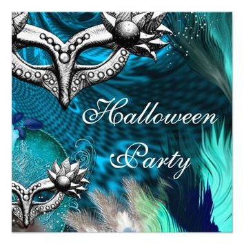 Halloween Party Blue Teal Masks Masquerade Party 3