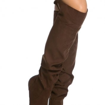 Brown Faux Suede Knee High Slouch Boots @ Cicihot Boots Catalog:women's winter boots,leather thigh high boots,black platform knee high boots,over the knee boots,Go Go boots,cowgirl boots,gladiator boots,womens dress boots,skirt boots.
