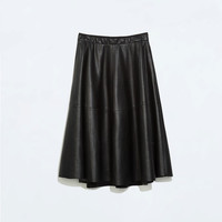 Faux leather flared skirt
