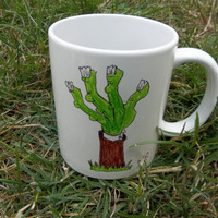 Plants vs. Zombies Hand-Drawn Ceramic Mug, Zombie Hand: 4th in a Series of 7