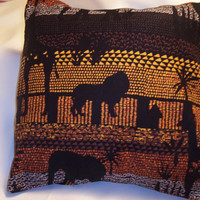 Decorative Pillow Cover, Throw pillow Cover Single 18 x 18 African Safari Elephant, Giraffe, Lion, Palm Trees