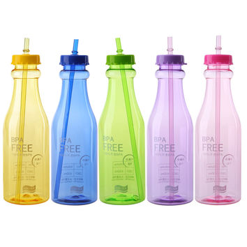 Eco-Friendly 650ml Bottle 5 Colors Unbreakable Portable Sport Health Travel Plastic Fruit Juice Water Bottle Cup with Straw