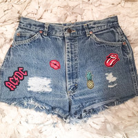 Size 28 one of a kind patched high waisted shorts